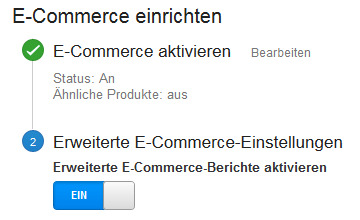 Erweiterte eCommerce Settings
